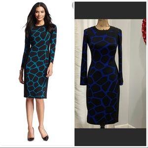 Maggy L blue black bodycon dress size 4P